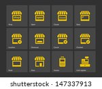 shop icons on gray background....