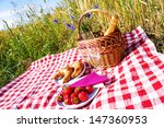 picnic blanket with champagne ... | Shutterstock . vector #147360953