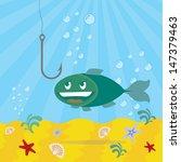 fish looking on a fishhook ... | Shutterstock .eps vector #147379463