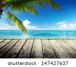 caribbean sea and perfect sky | Shutterstock . vector #147427637