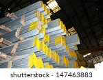 steel angle bunch on the rack... | Shutterstock . vector #147463883