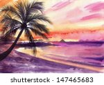Tropical Sunset View With...