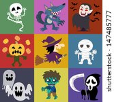 a variety of halloween roles | Shutterstock . vector #147485777