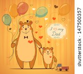 daddy bear and his a happy son  ... | Shutterstock .eps vector #147500357