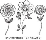 sketchy ornamental flowers with