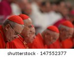 Small photo of VATICAN CITY, VATICAN - DECEMBER 31 : Unidentified Cardinals are pictured as Pope John Paul II celebrates the Vespers and Te Deum prayers in Saint Peter's Basilica at the Vatican on December 31, 2004