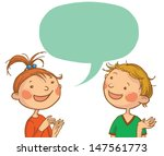 two kids talking together.... | Shutterstock .eps vector #147561773