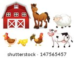 Illustration of the farm animals on a white background - stock vector