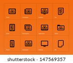 newspaper icons on orange...
