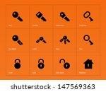 key icons on orange background. ...