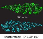 silhouette of vine and leaves ...