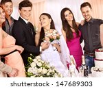 group people at wedding table... | Shutterstock . vector #147689303