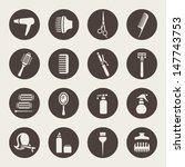Постер, плакат: Hairdressing equipment icons