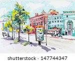 Marker Painting Of Cityscape