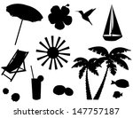 vector beach icons silhouettes... | Shutterstock .eps vector #147757187