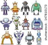 Cartoon Robots Set   Vector