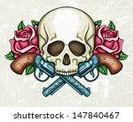 skull  crossed guns and roses | Shutterstock .eps vector #147840467