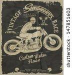 vector old school race poster. | Shutterstock .eps vector #147851603