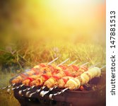 beef and pork barbecue or kebab ... | Shutterstock . vector #147881513