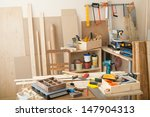 carpentry workshop with tools...