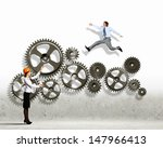 businessman and businesswoman... | Shutterstock . vector #147966413