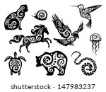 animal,bear,black,cat,crow,decorative,design element,emblem,glyph,group of animals,helix,horse,hummingbird,isolated on white,jellyfish