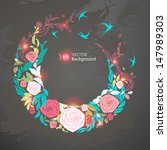 floral round frame.  bstract... | Shutterstock .eps vector #147989303