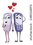 couple of cell phones on a date ... | Shutterstock .eps vector #148026893
