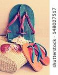 beach bag with towel flip flops ... | Shutterstock . vector #148027517