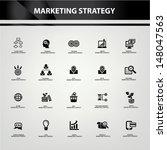 marketing strategy icons black...