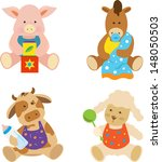 animals,apron,baby,blanket,blocks,bottle,cartoon,character,collection,cow,cute,farm animals,horse,mammal,pacifier