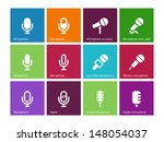 microphone icons on color...