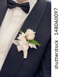 wedding boutonniere on suit of... | Shutterstock . vector #148060097