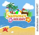 summer holiday poster... | Shutterstock .eps vector #148092407