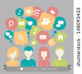 people with network dialog... | Shutterstock . vector #148093433