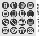 telephone icon set | Shutterstock .eps vector #148153097