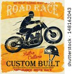 vector old school race poster. | Shutterstock .eps vector #148162043