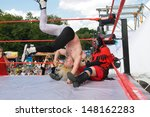 Постер, плакат: unidentified wrestlers Professional wrestling
