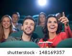 happy couple at the cinema.... | Shutterstock . vector #148169357
