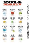 12 month calendar for 2014 with ... | Shutterstock . vector #148199027