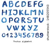 alphabet in blue colors.... | Shutterstock .eps vector #148205543