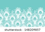 Soft peacock feathers vector horizontal seamless pattern background - stock vector