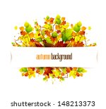 autumn leaves background with... | Shutterstock .eps vector #148213373