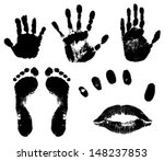 black prints of feet  hands ...