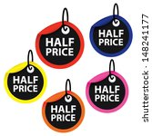 half price on circle background.... | Shutterstock .eps vector #148241177