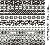 Tribal seamless pattern - aztec black and white background