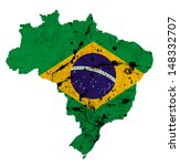 brazil flag on map isolated on... | Shutterstock . vector #148332707