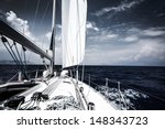 Luxury Sail Boat In The Sea At...
