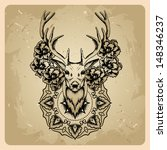 deer with flowers and circle... | Shutterstock .eps vector #148346237