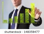 business chart with green bar...   Shutterstock . vector #148358477